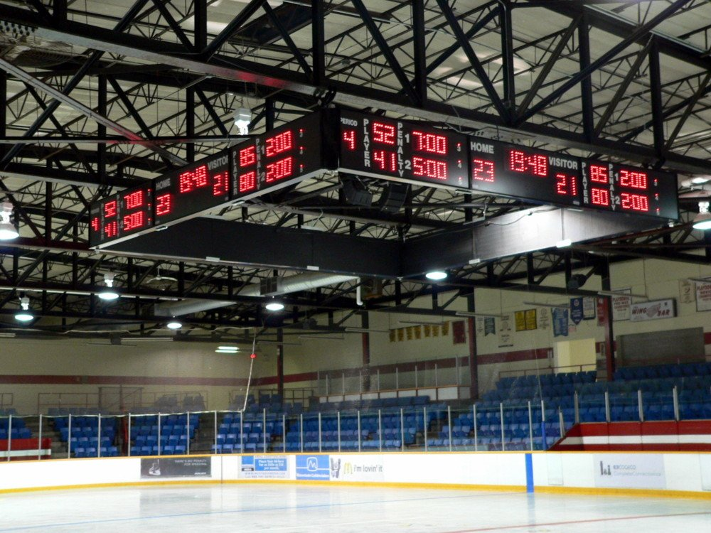 Harris Time scoreboard Mountain Arena Hamilton