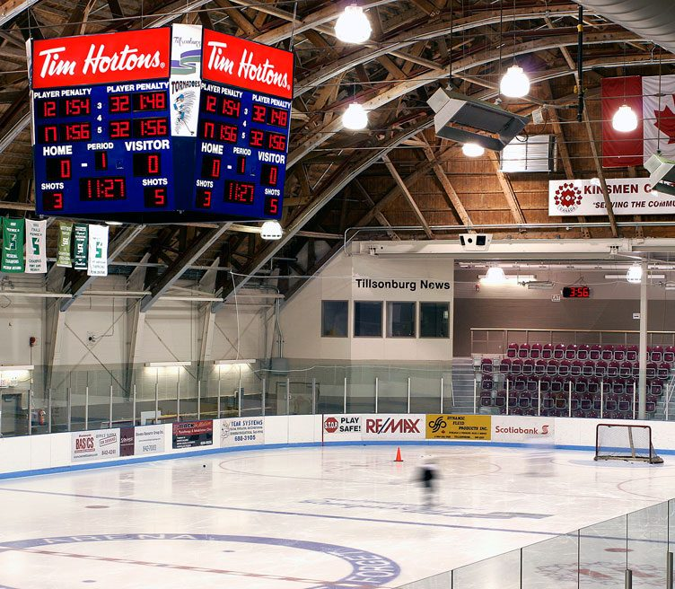 Harris Time hockey game scoreboard